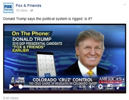 Donald Trump says the political system is rigged