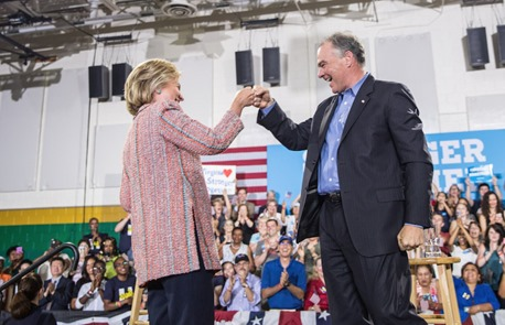Hillary Clinton and Tim Kaine - 8 years in the making
