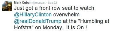 Mark Cuban tweet taunting Donald Trump front row seat debate