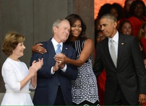 george w bush and michelle obama hug